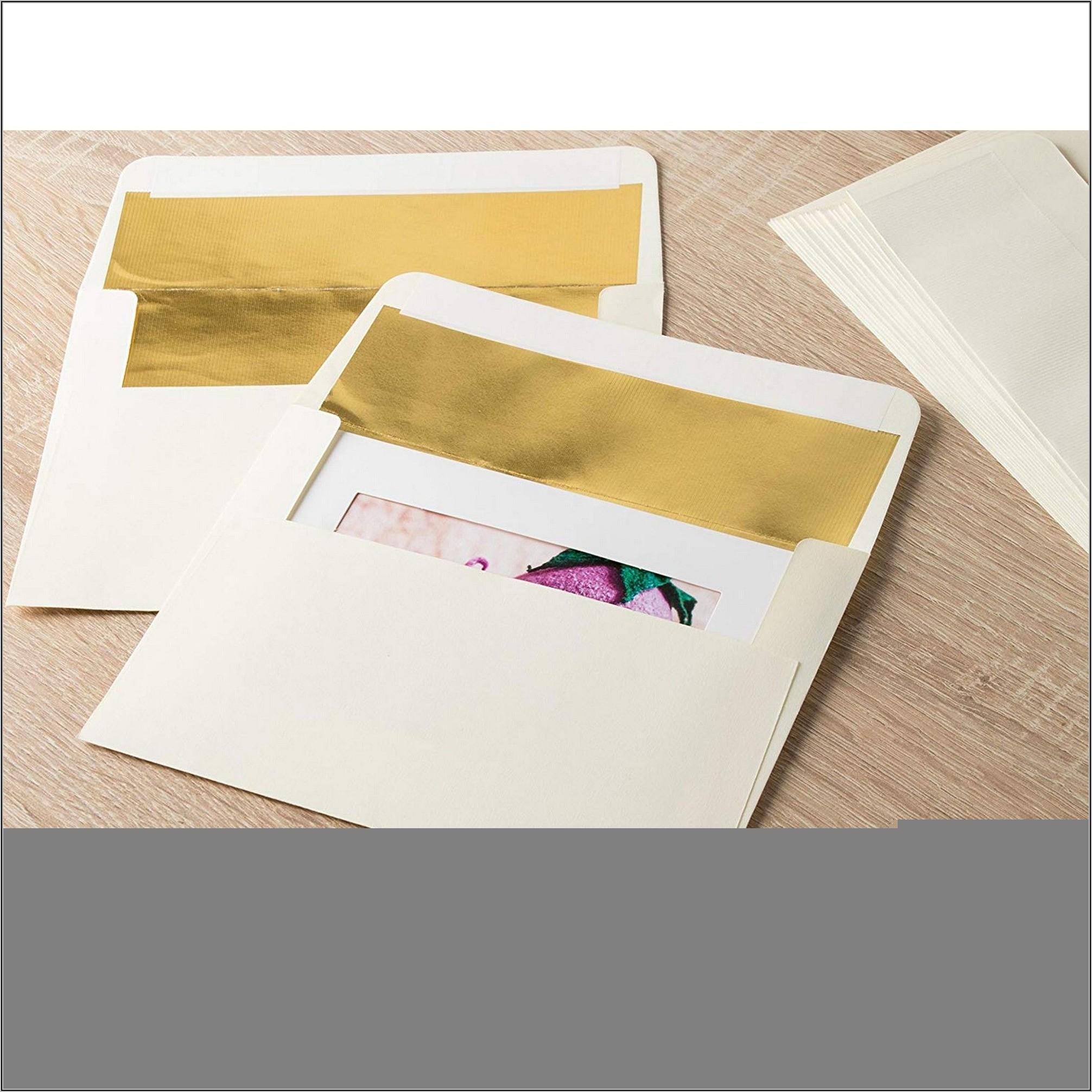Gold Foil Lined Envelopes 5x7