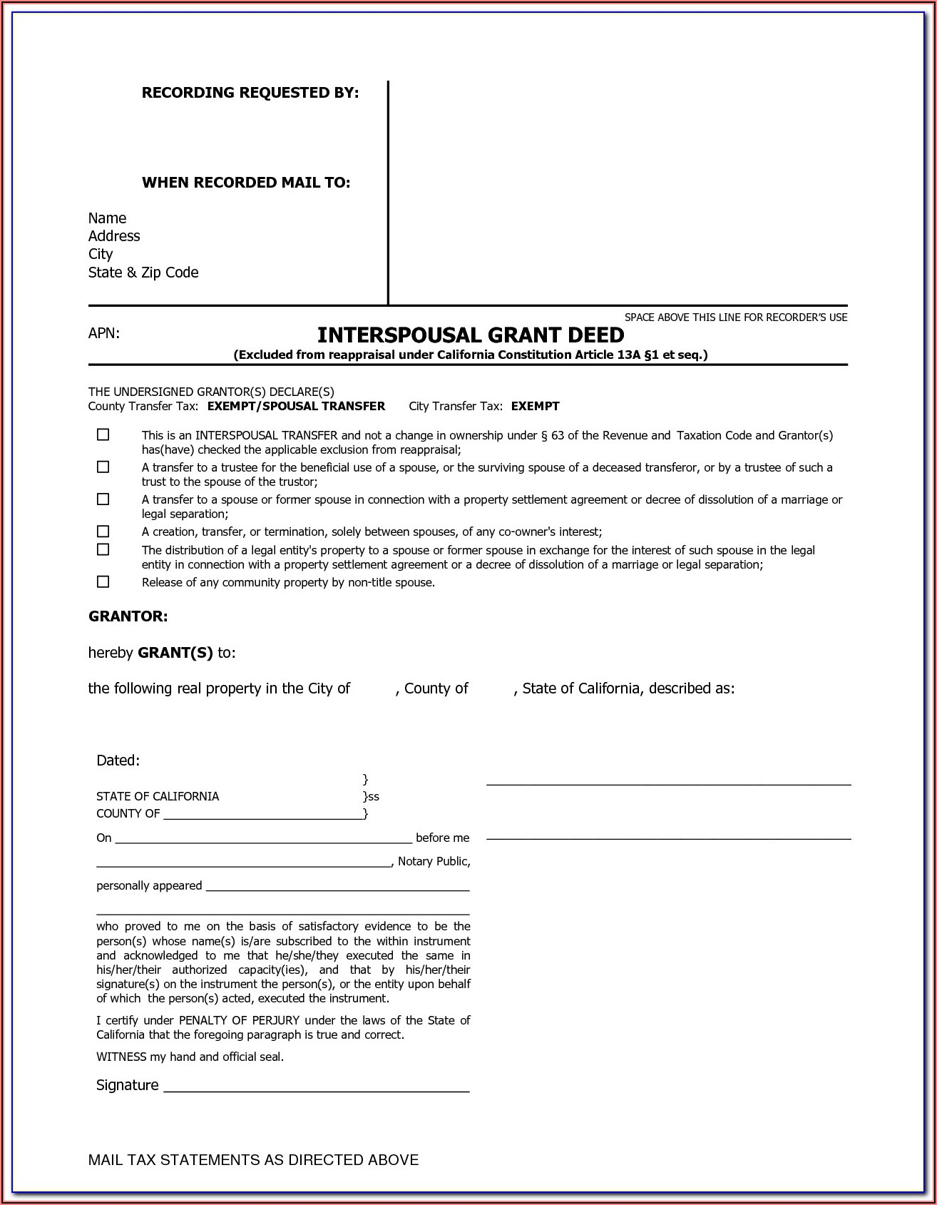 Grant Deed Form Sacramento County California