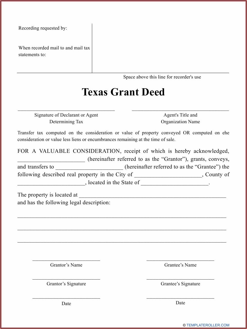 Grant Deed Form Texas