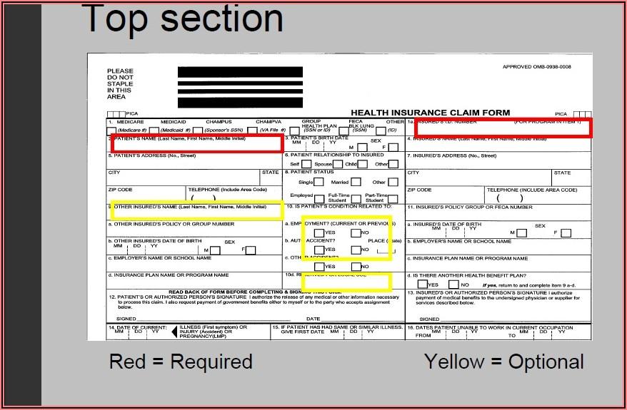 Hcfa Claim Form Fields
