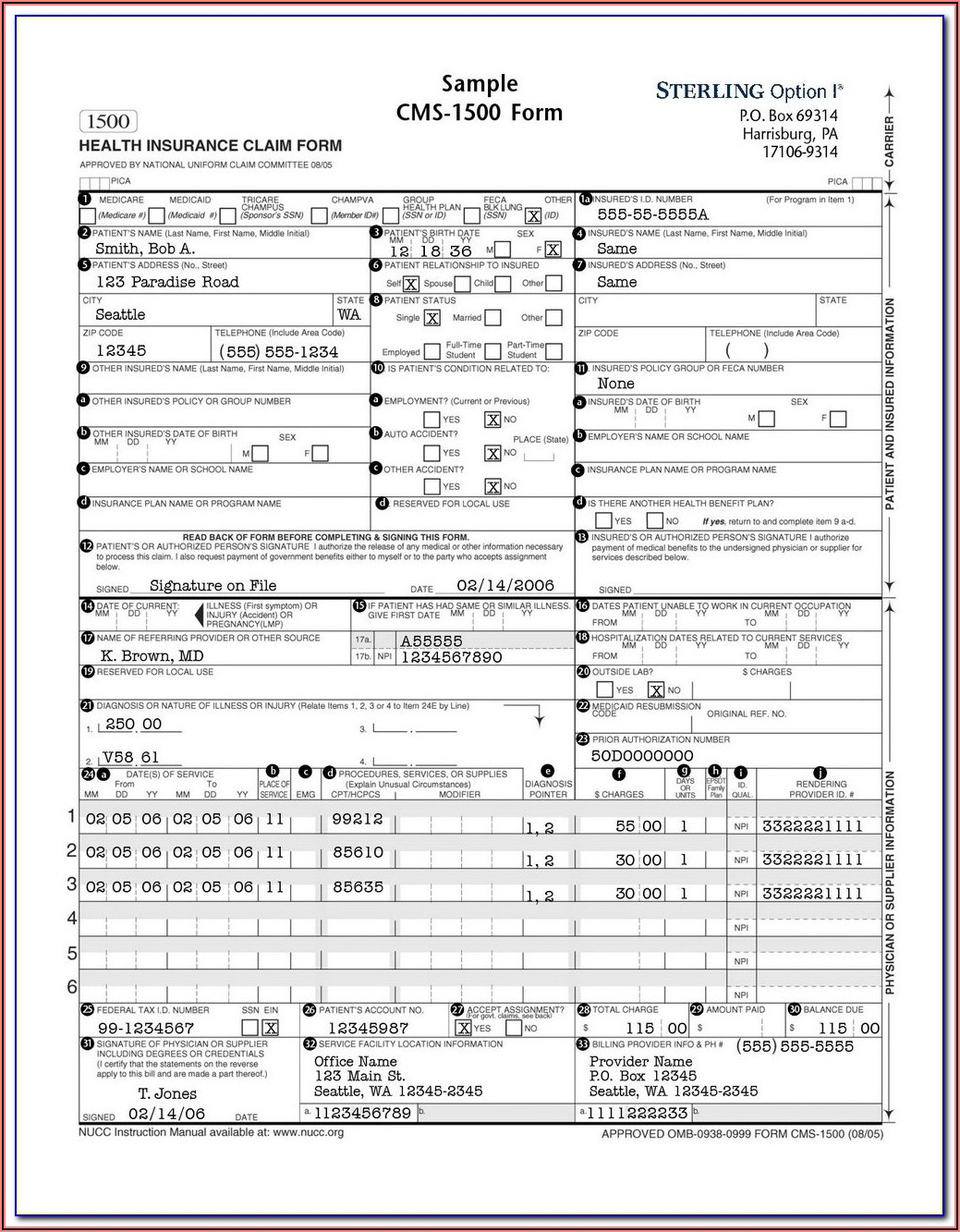 Hcfa Claim Form Image