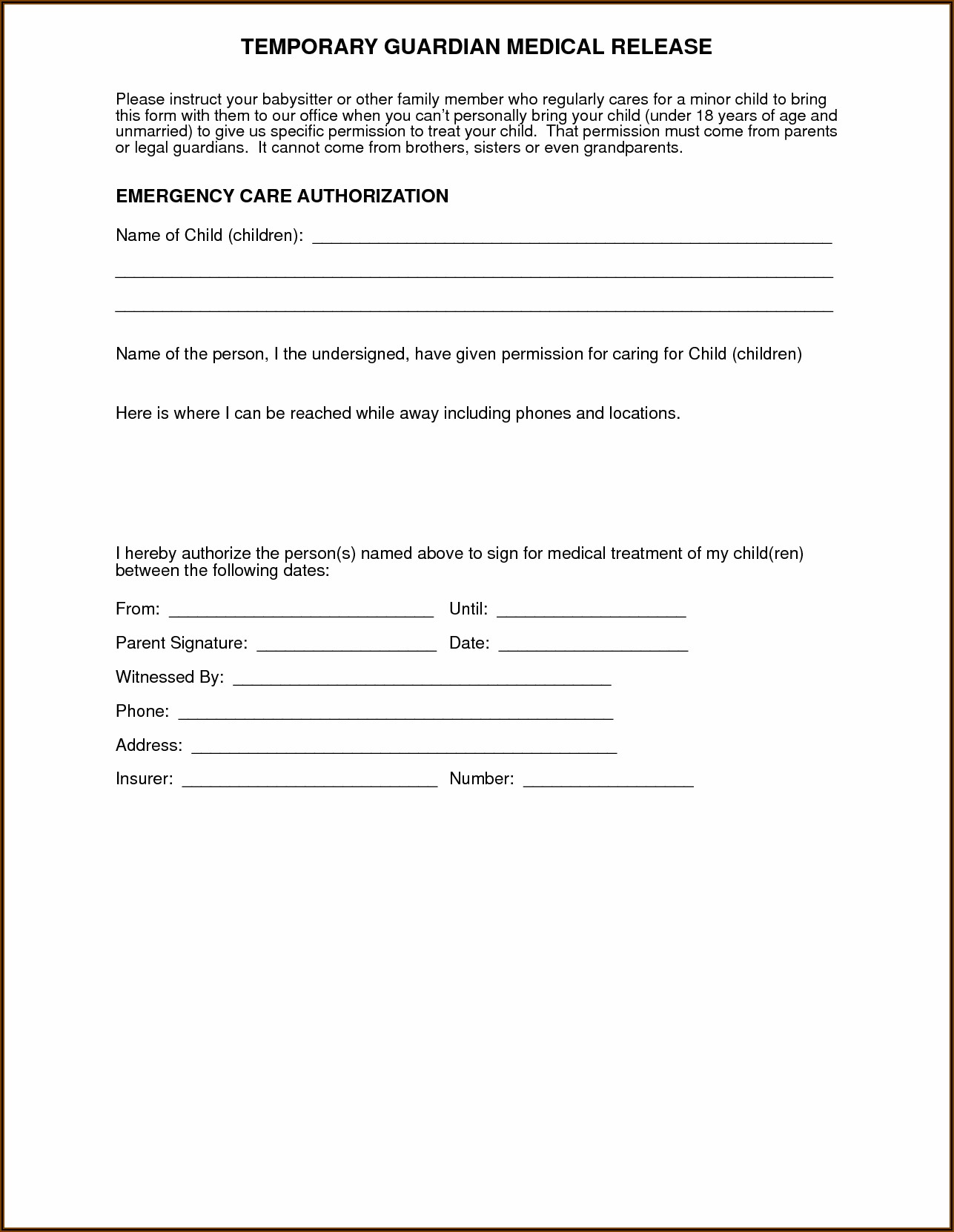 Health Care Authorization Form For Grandparents