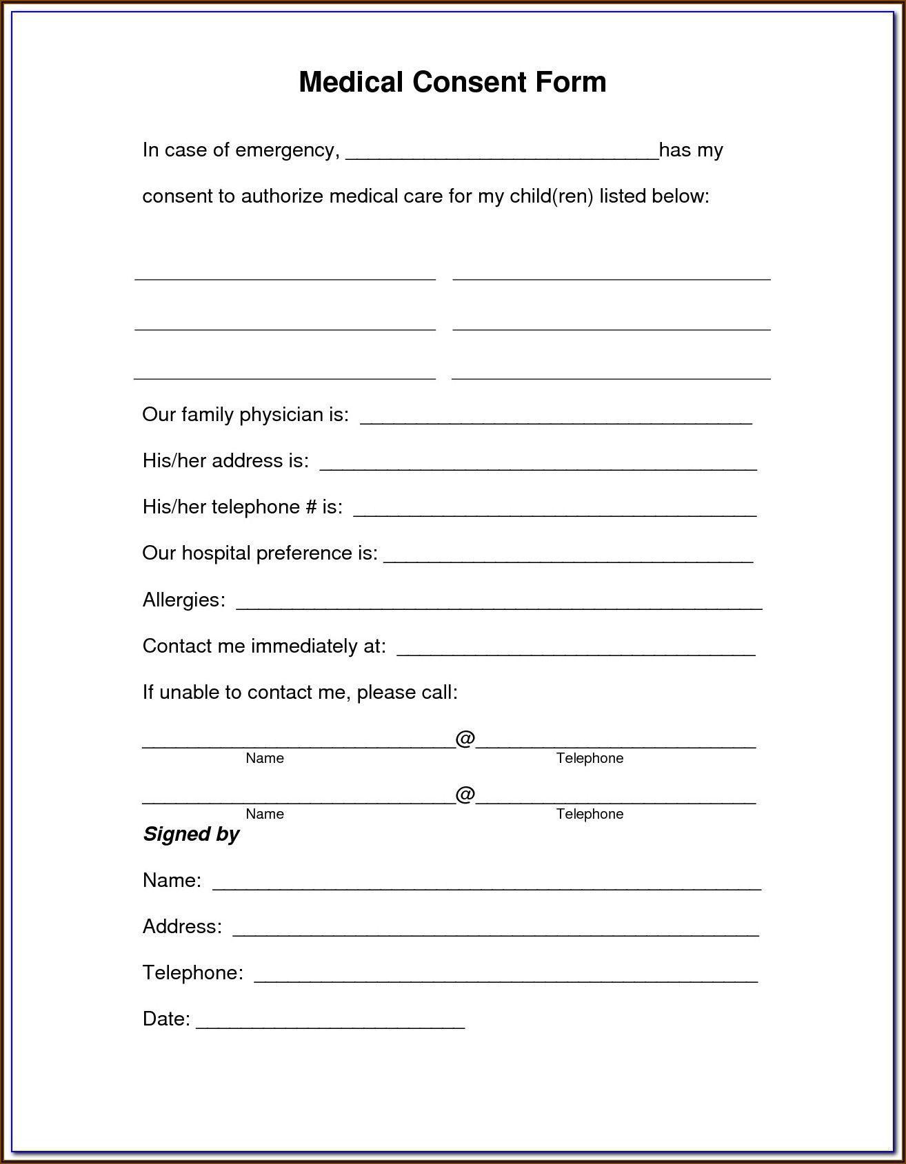 Health Care Consent Act Forms