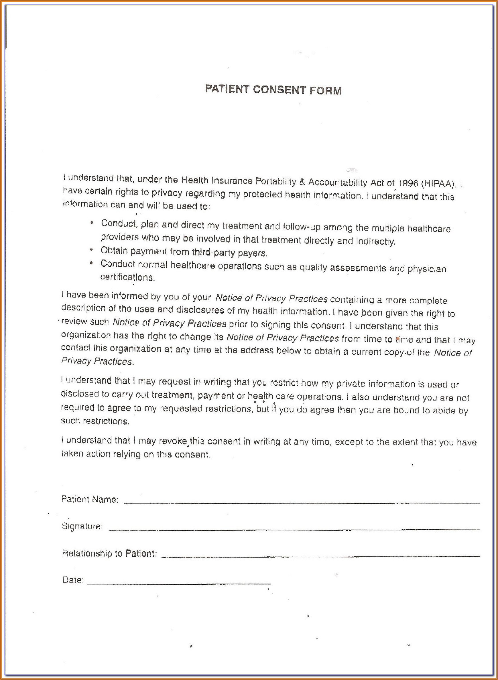Hipaa Compliance Patient Consent Form Spanish