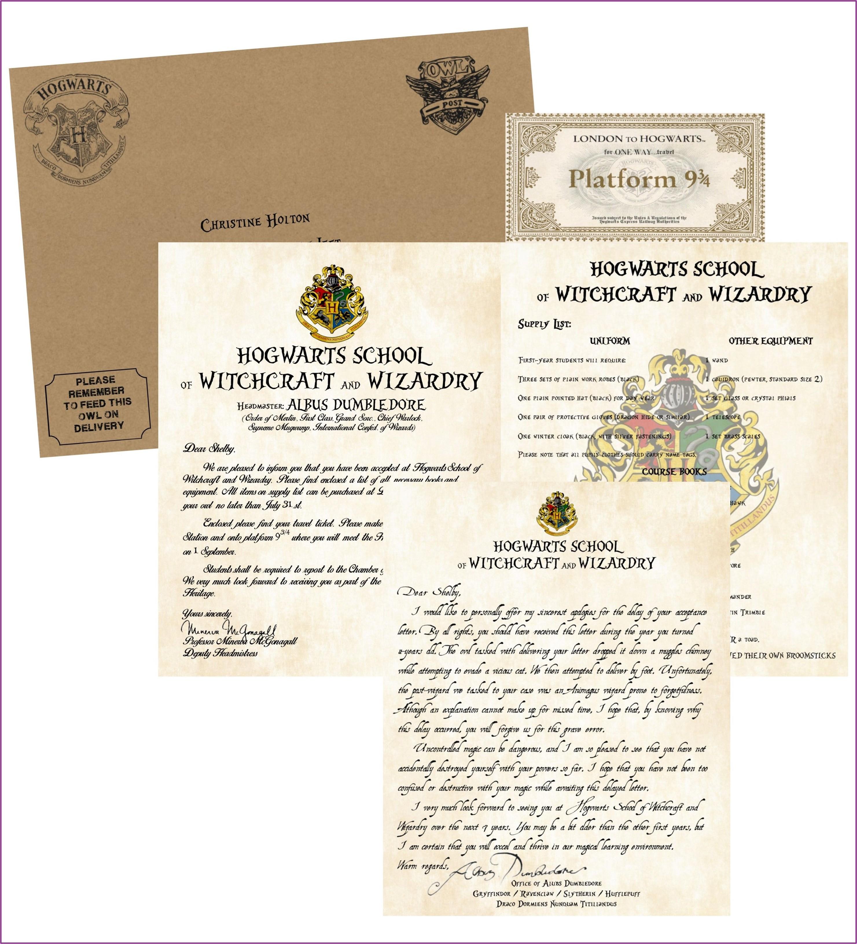 Hogwarts Acceptance Letter Envelope