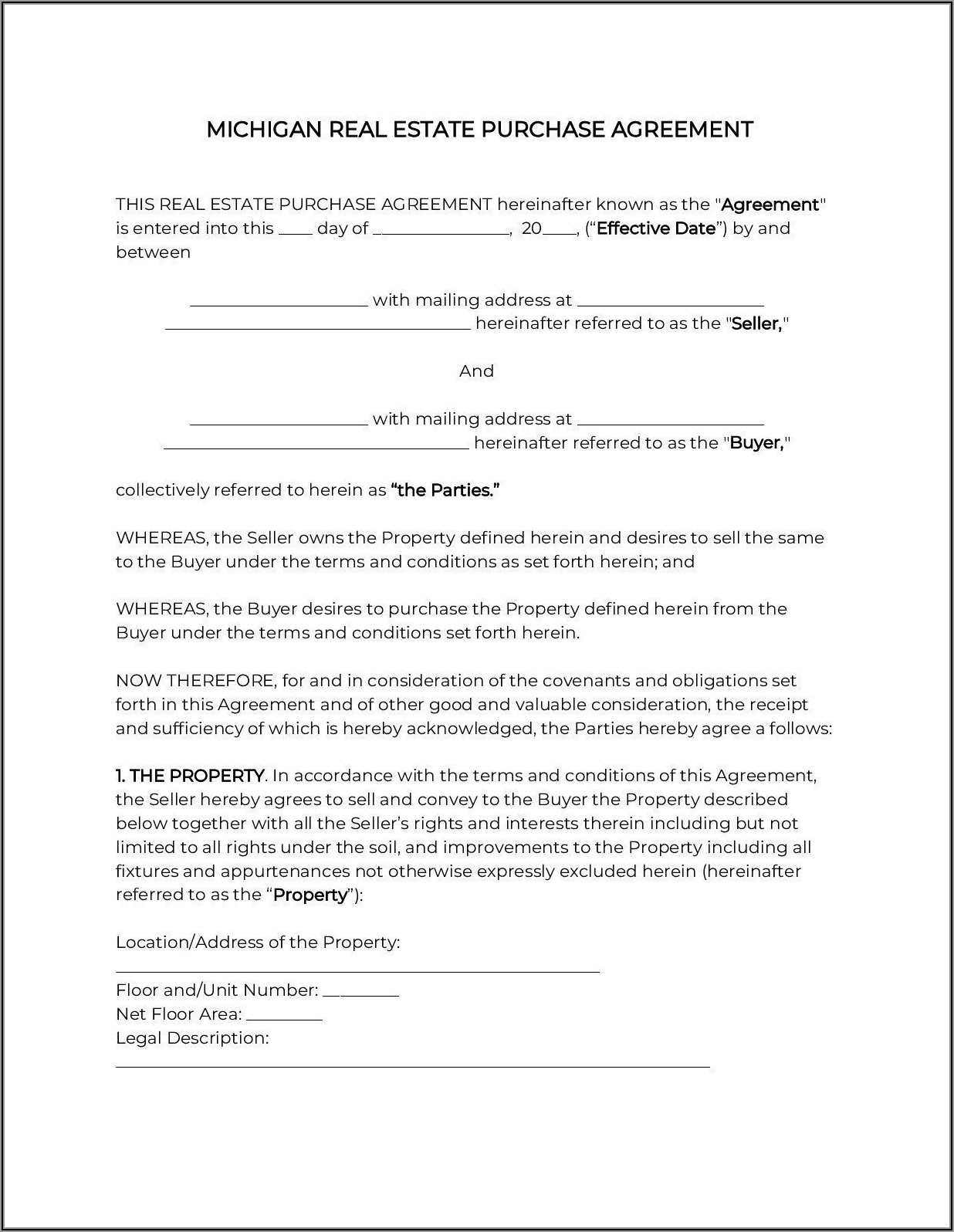 House Purchase Agreement Form Michigan
