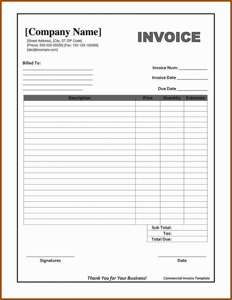 Invoice Blank Forms