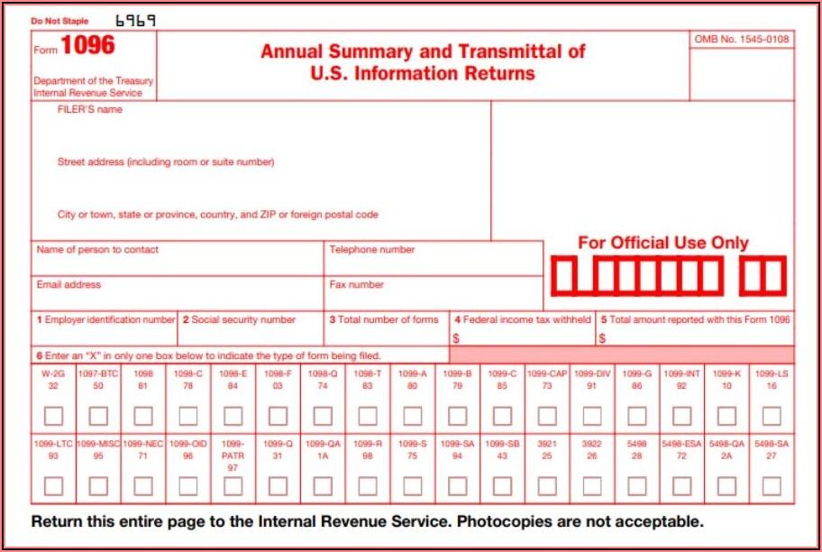 Irs 1096 Form Mailing Address