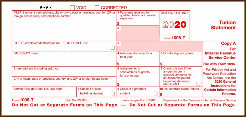 Irs Form 1098 T 2020