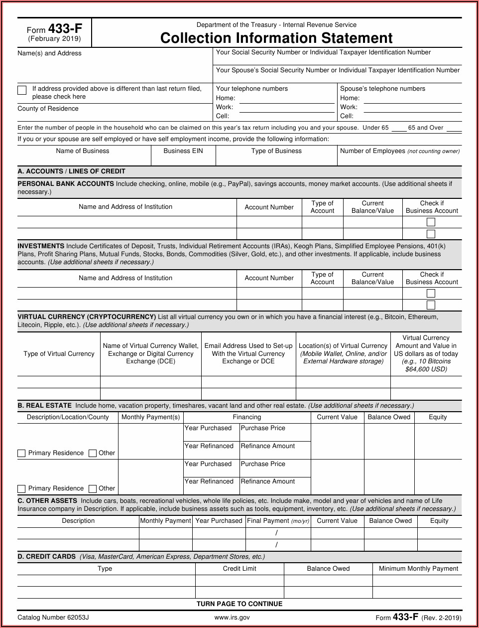Irs Form 433 F Download