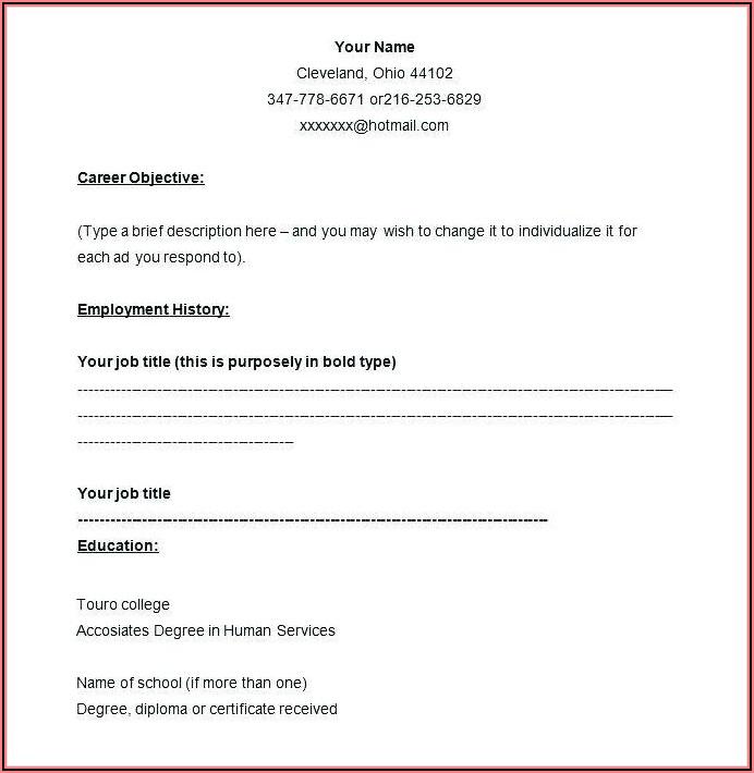 Job Application Printable Blank Resume Form