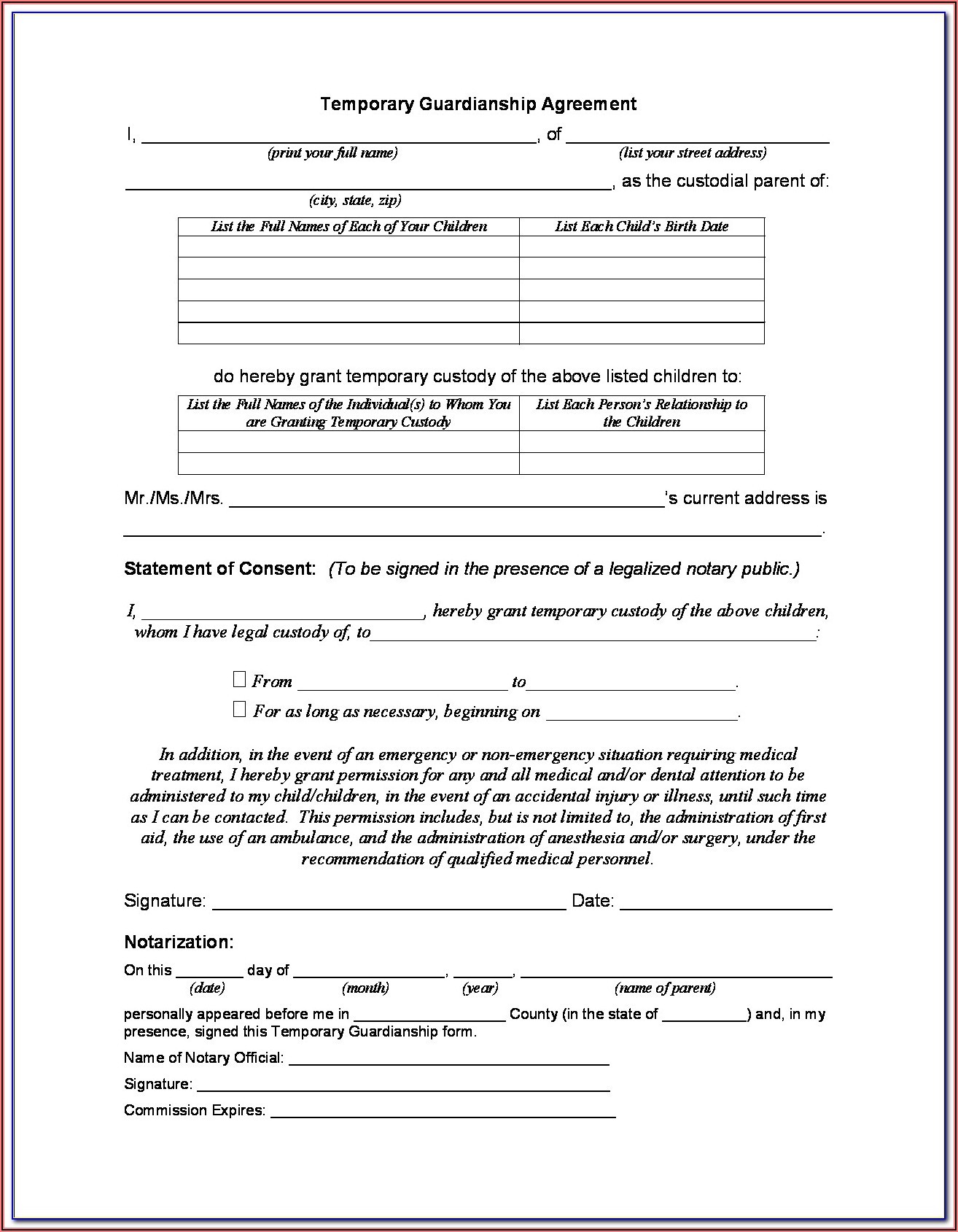 Kentucky Temporary Guardianship Agreement Form