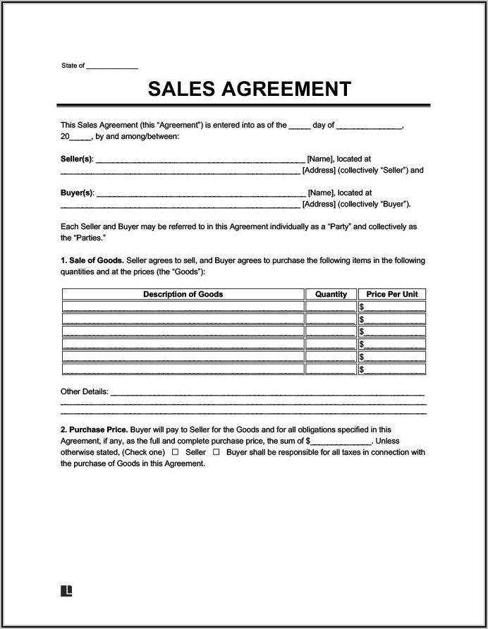 Land Sale Contract Sample