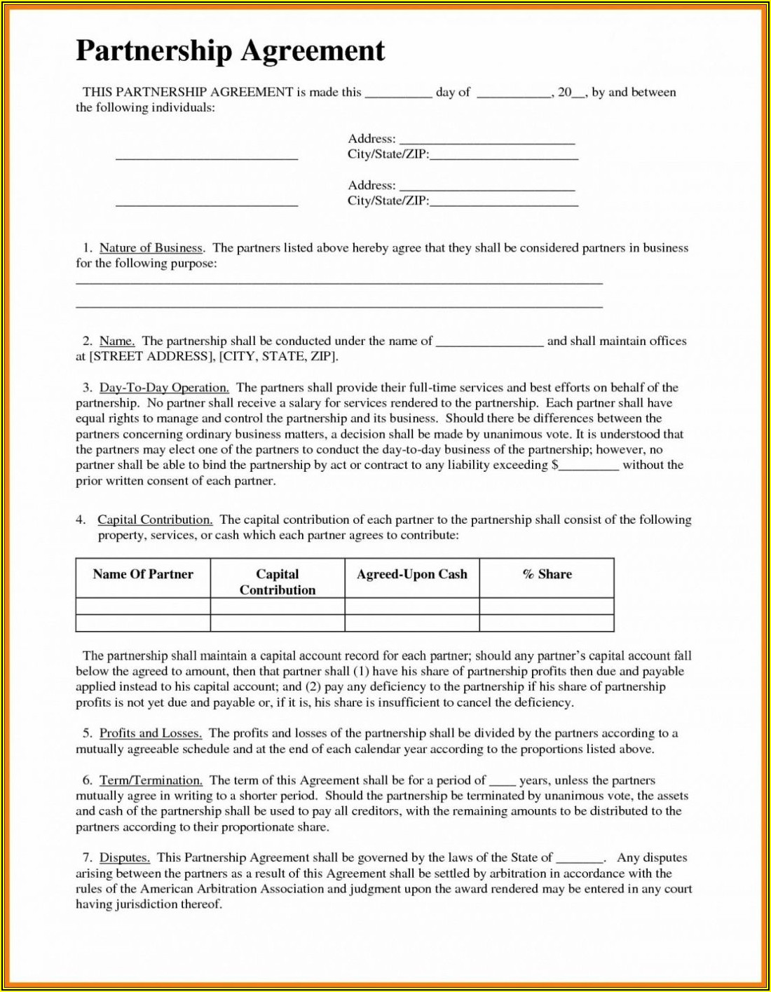 Law Firm Partnership Agreement Form