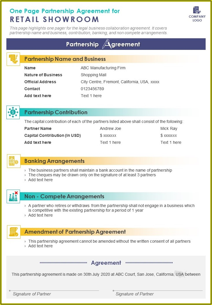 Law Firm Partnership Agreement Template