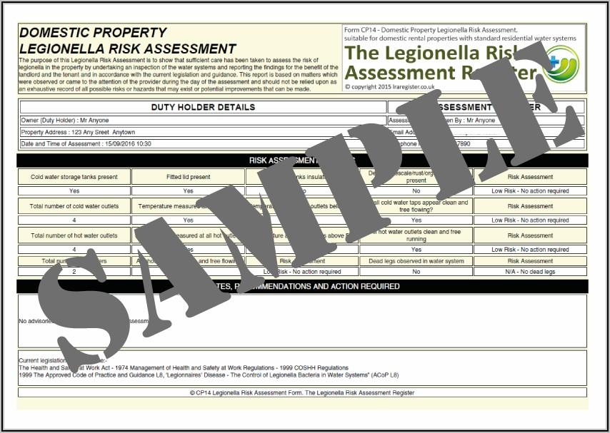 Legionella Risk Assessment Template For Landlords