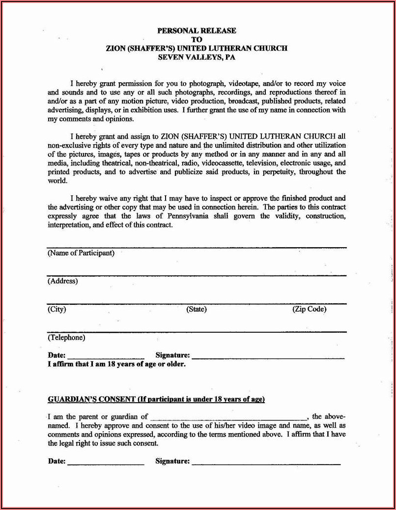 Letter Of Liability Release Form