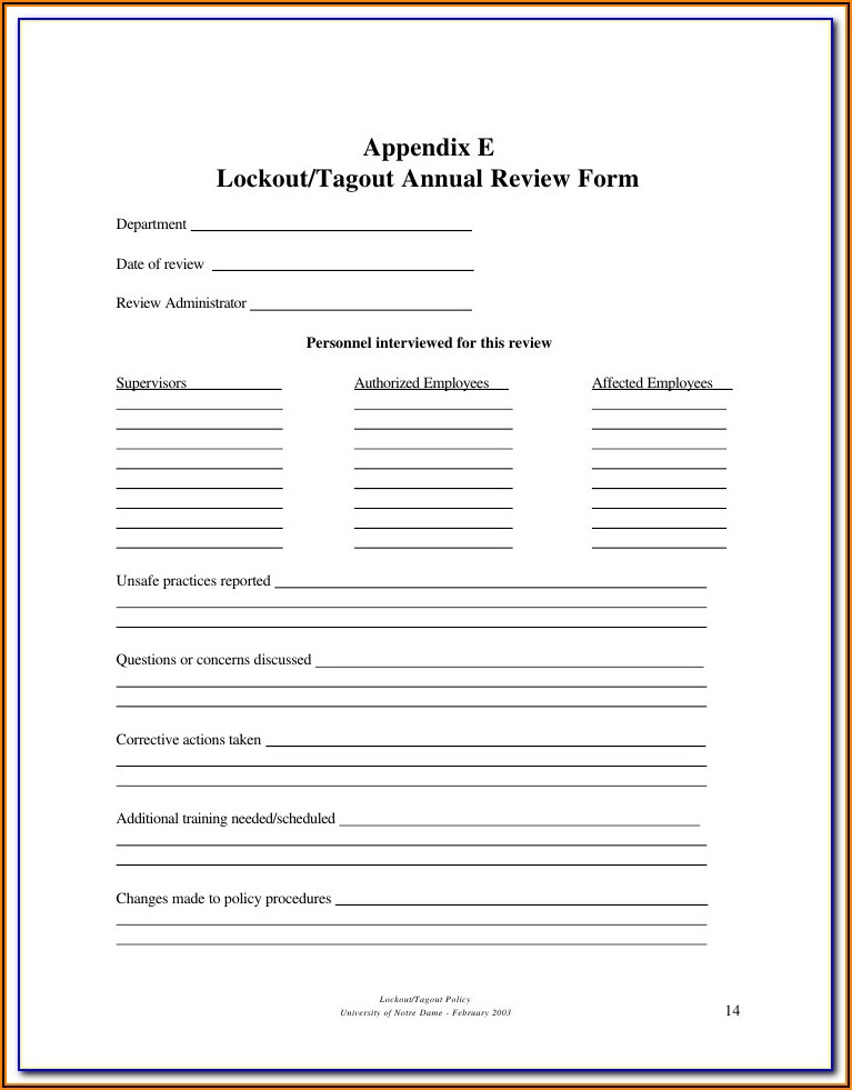 Lockout Tagout Form Template Excel