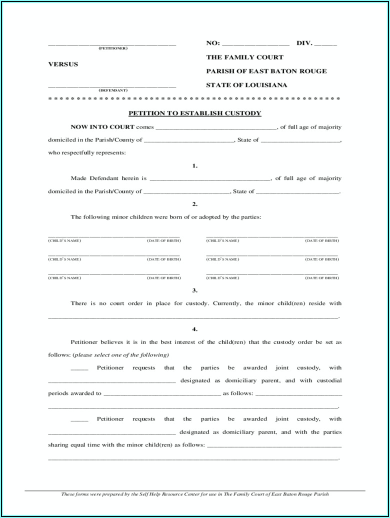 Louisiana Temporary Guardianship Agreement Form