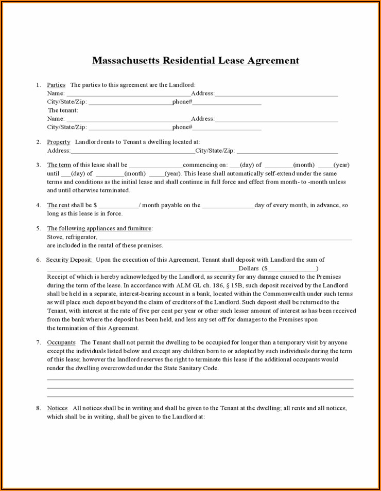 Ma Standard Residential Lease Agreement