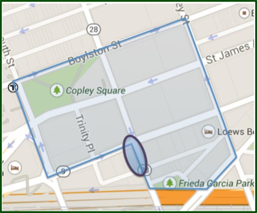 Map Copley Square Boston