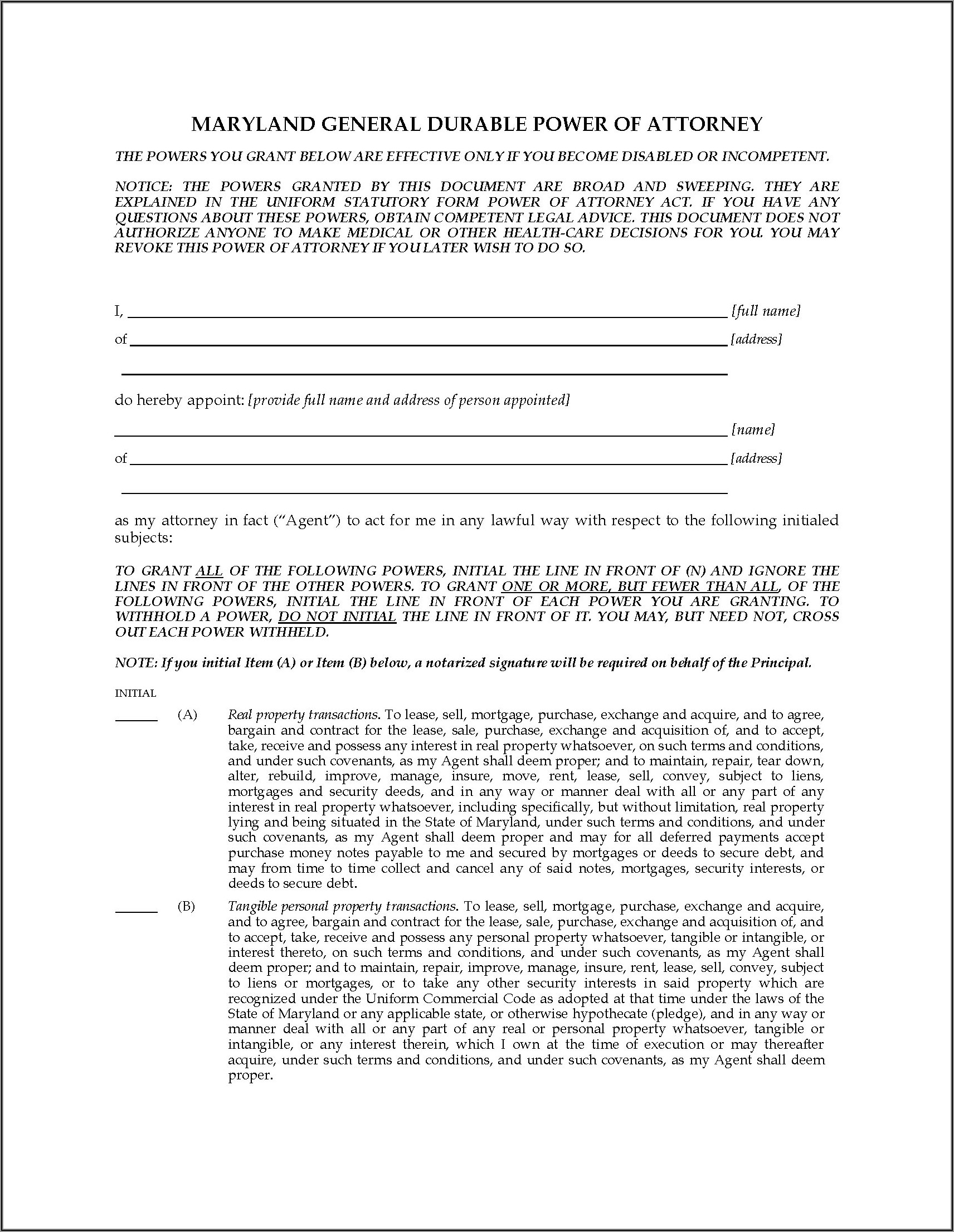 Maryland Attorney General Power Of Attorney Forms