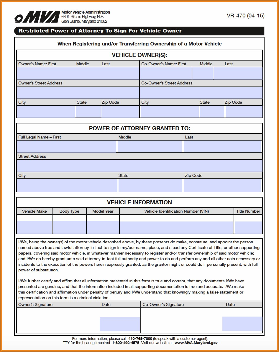 Maryland Power Of Attorney Forms Download