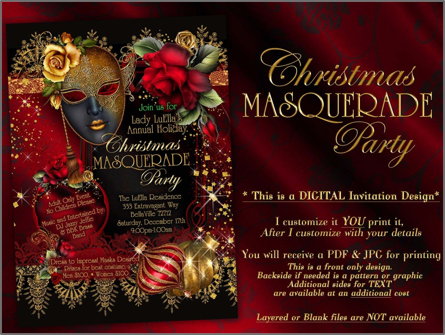 Masquerade Christmas Party Invitation Template