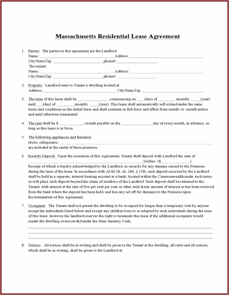 Massachusetts Standard Form Residential Lease
