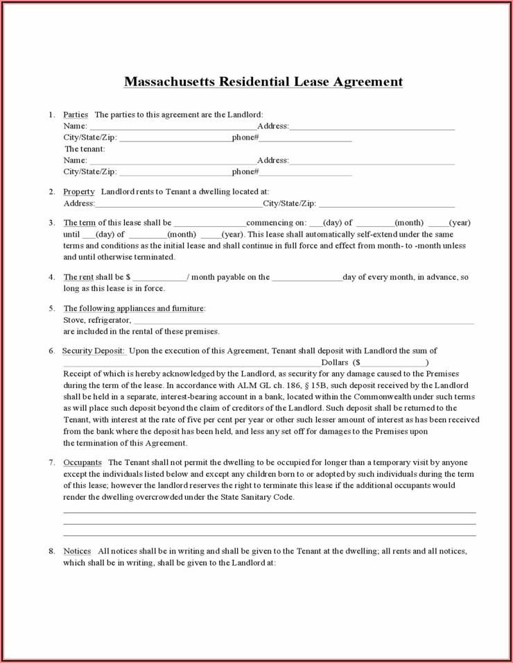 Massachusetts Standard Form Residential Lease