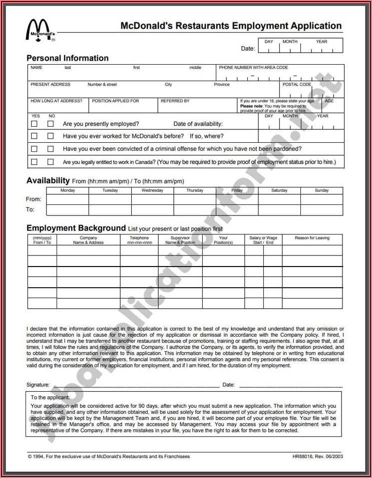 Mcdonalds Job Application Form Canada Pdf