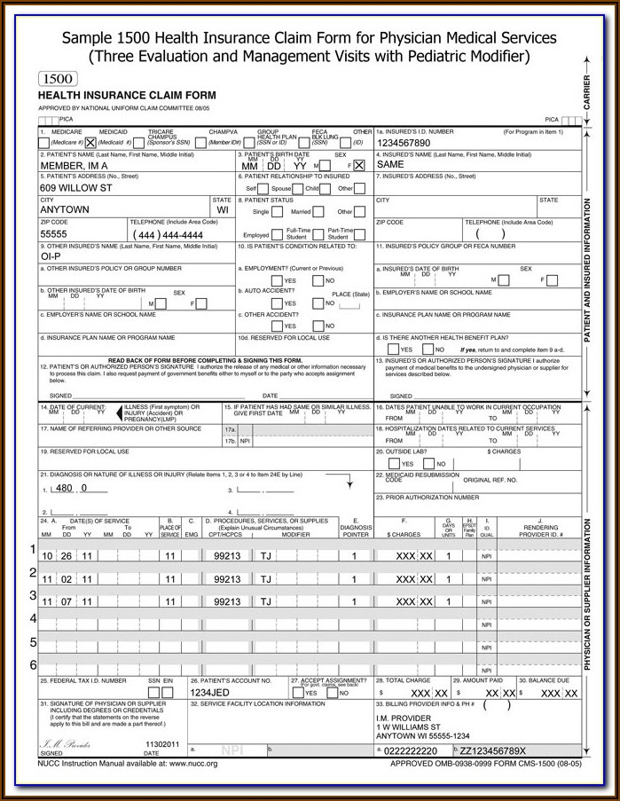 Medicare Cms 1500 Claim Form Instructions