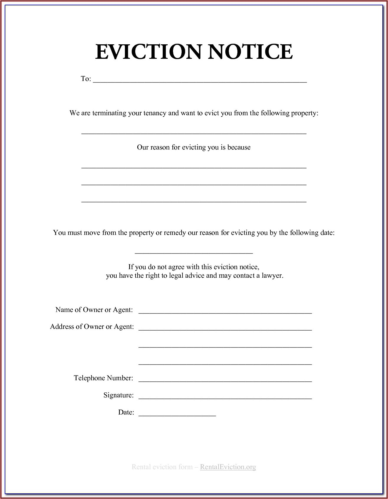 Mi Eviction Notice Form