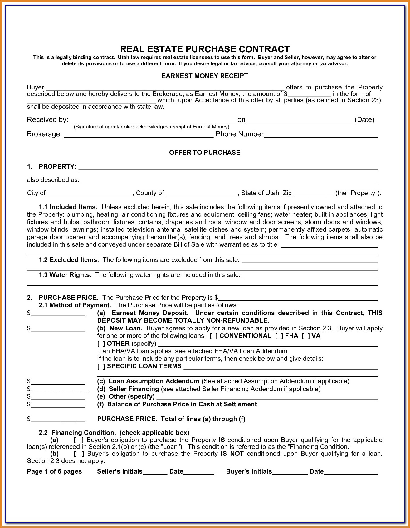 Michigan Real Estate Purchase Agreement Form