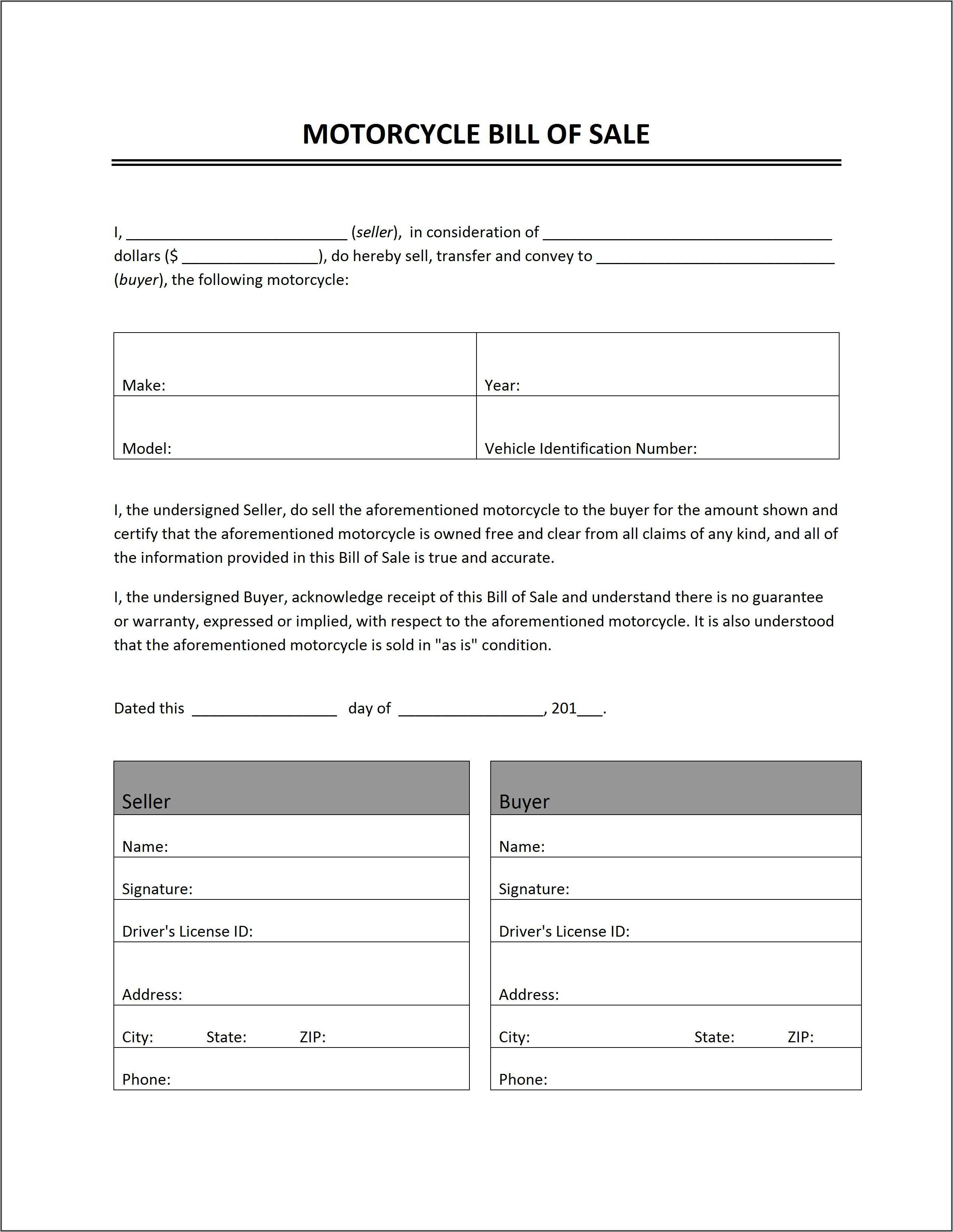 Motorcycle Sale Agreement Format In Word