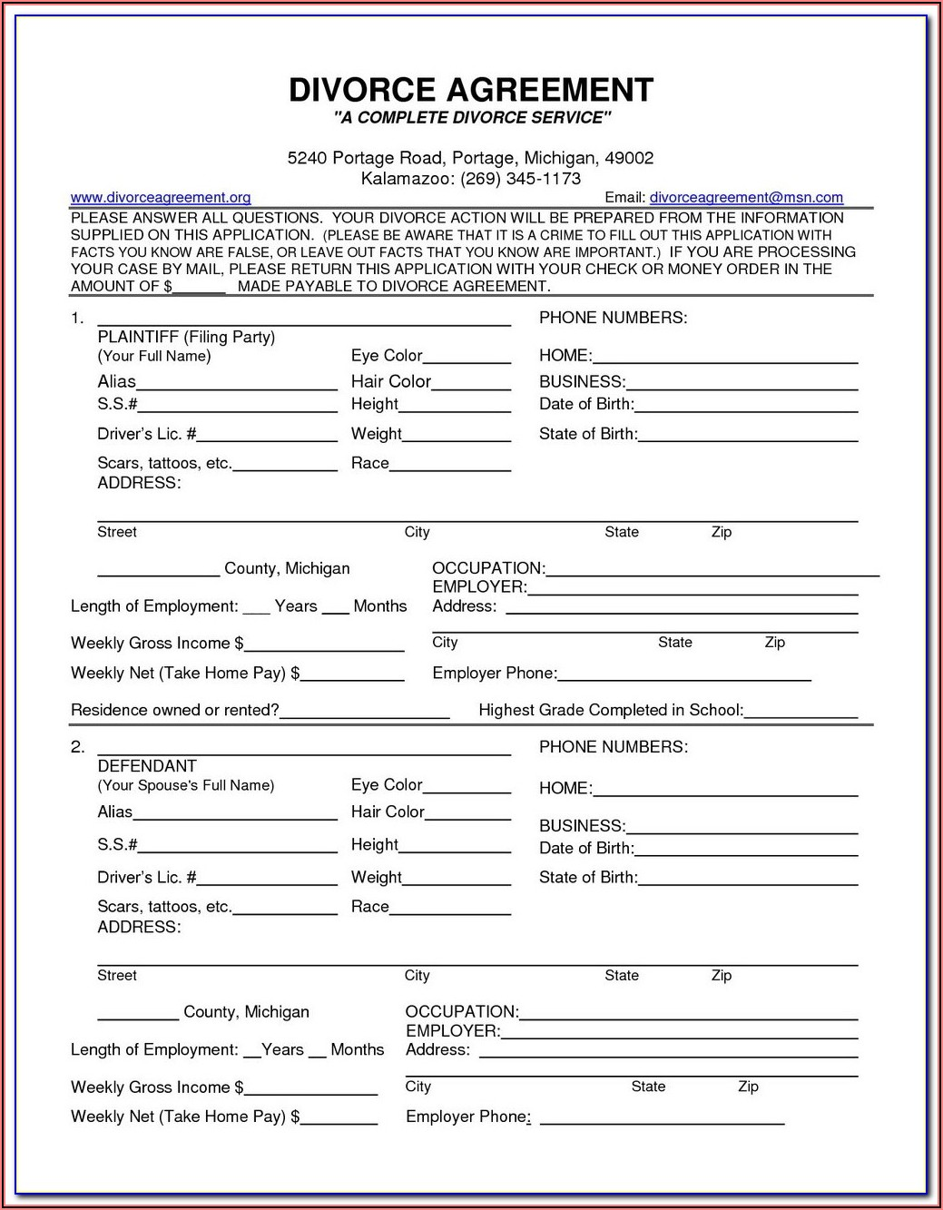Nc Uncontested Divorce Forms