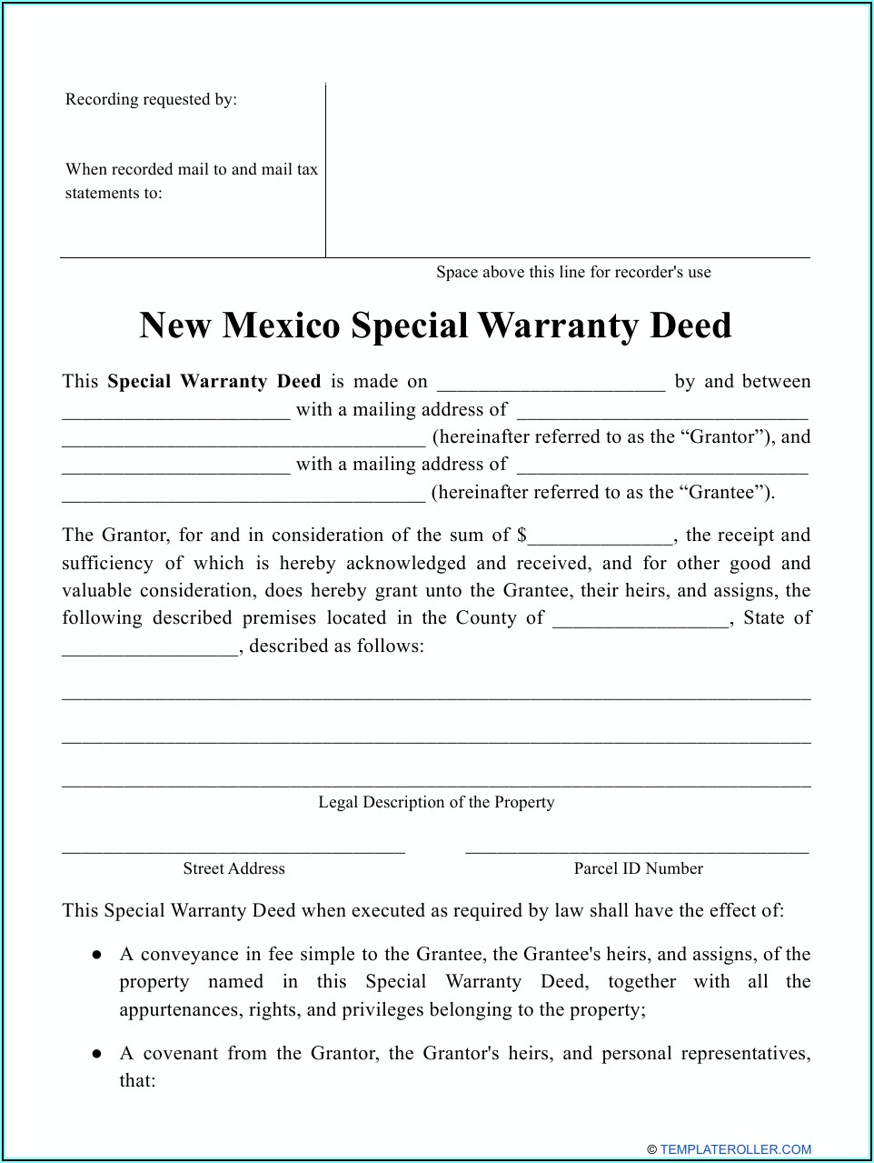 New Mexico Special Warranty Deed Form