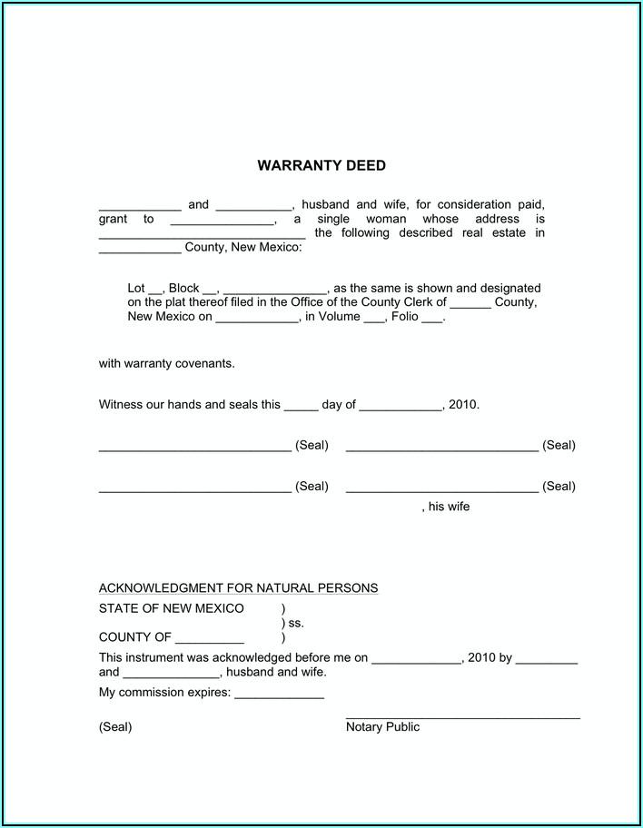New Mexico Statutory Form Warranty Deed