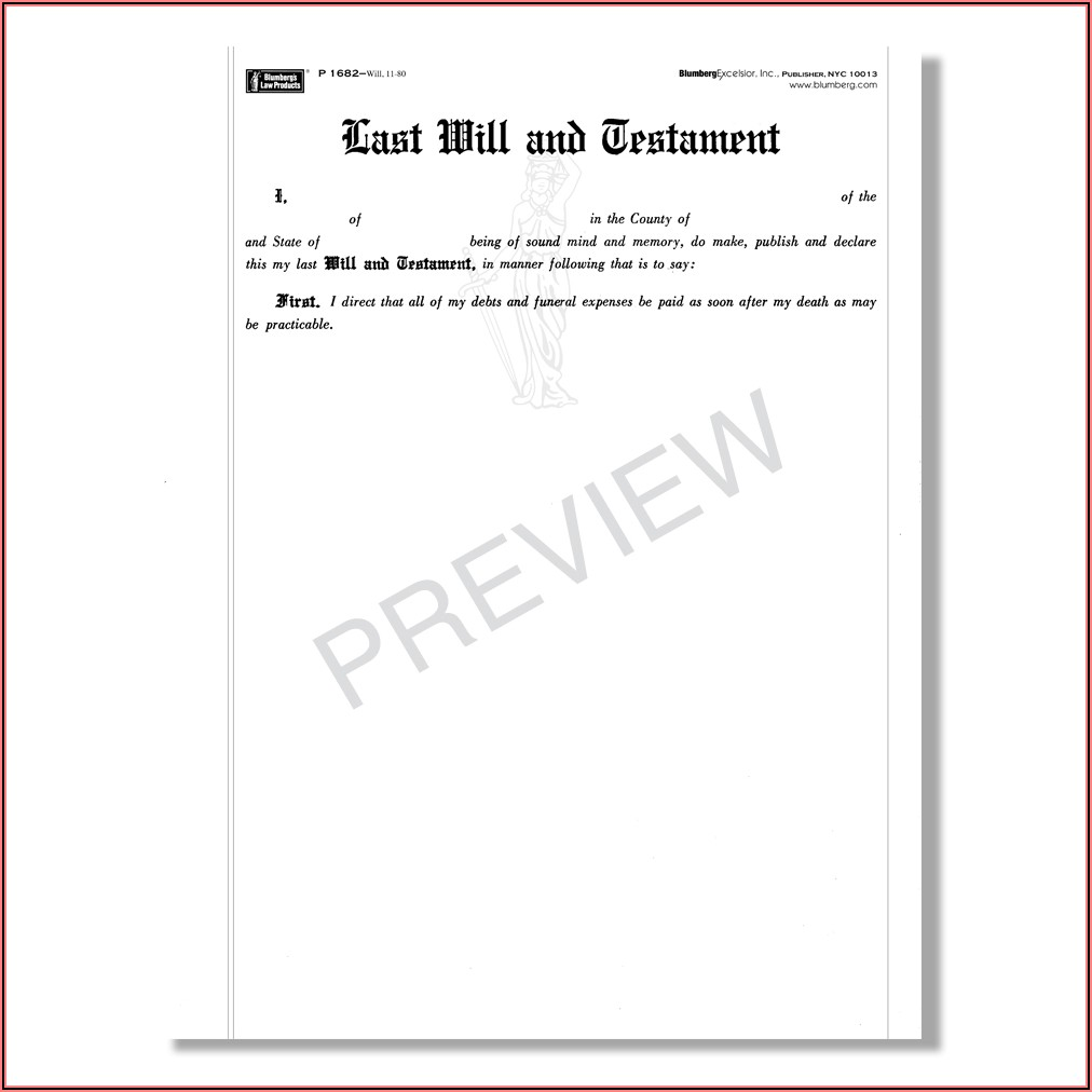 New York Last Will And Testament Blank Forms