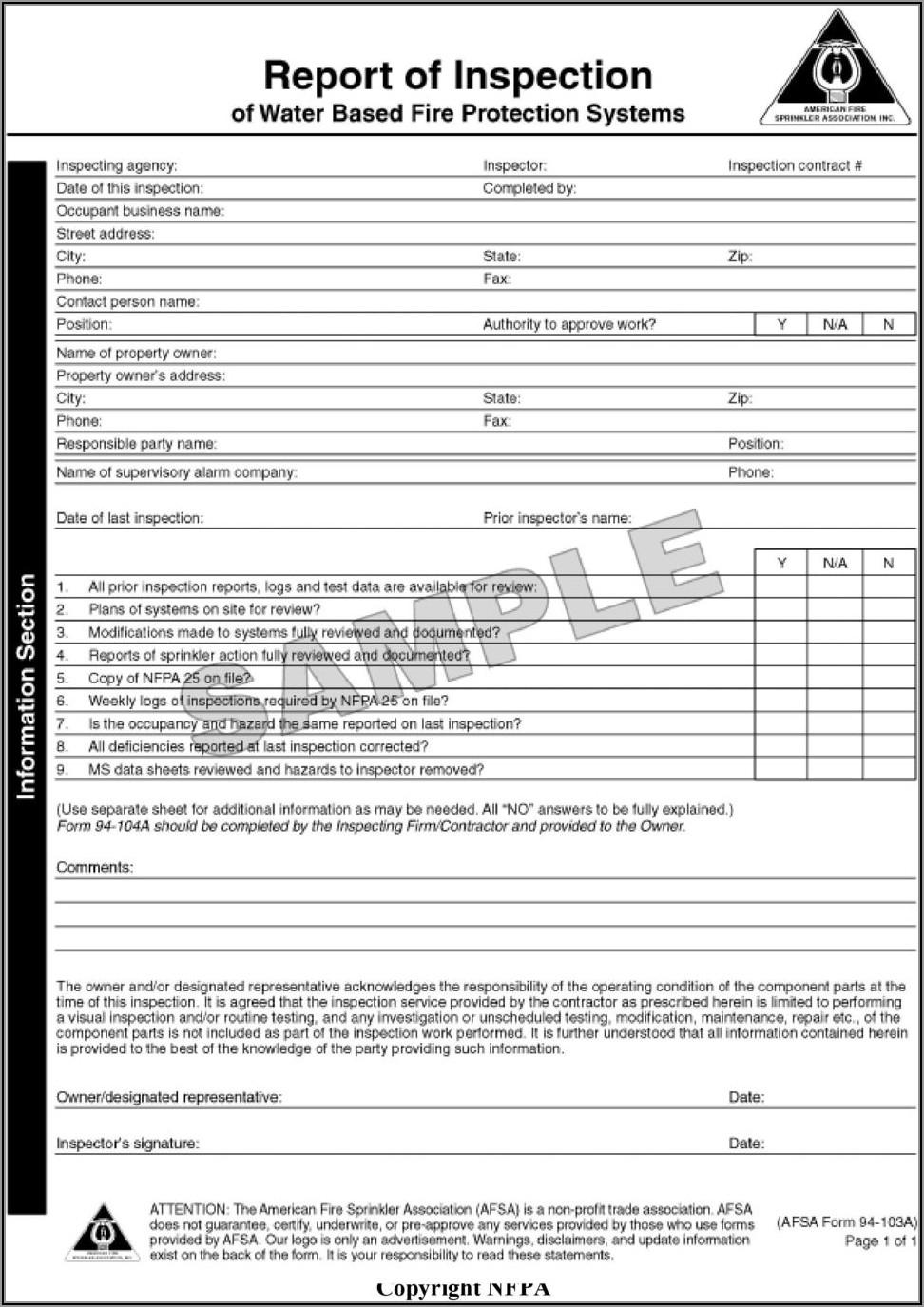 Nfpa 25 Fire Pump Inspection Form