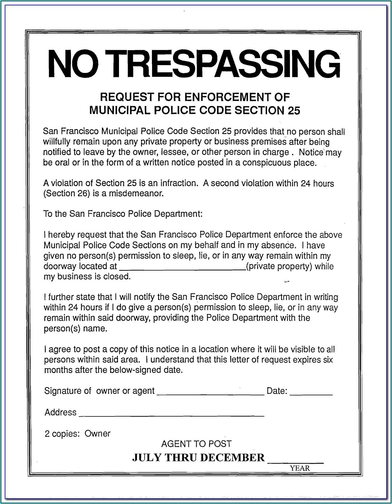 No Trespassing Form