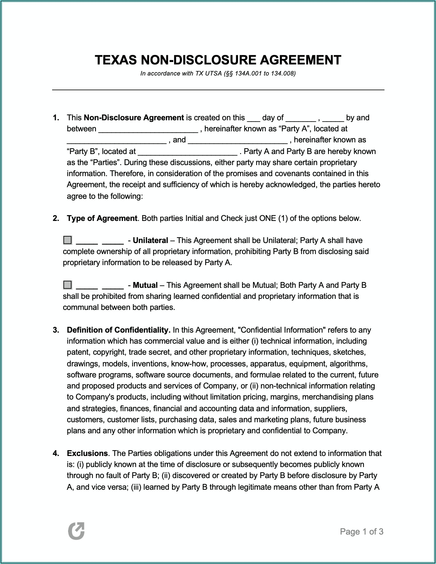 Non Disclosure Agreement Form Florida