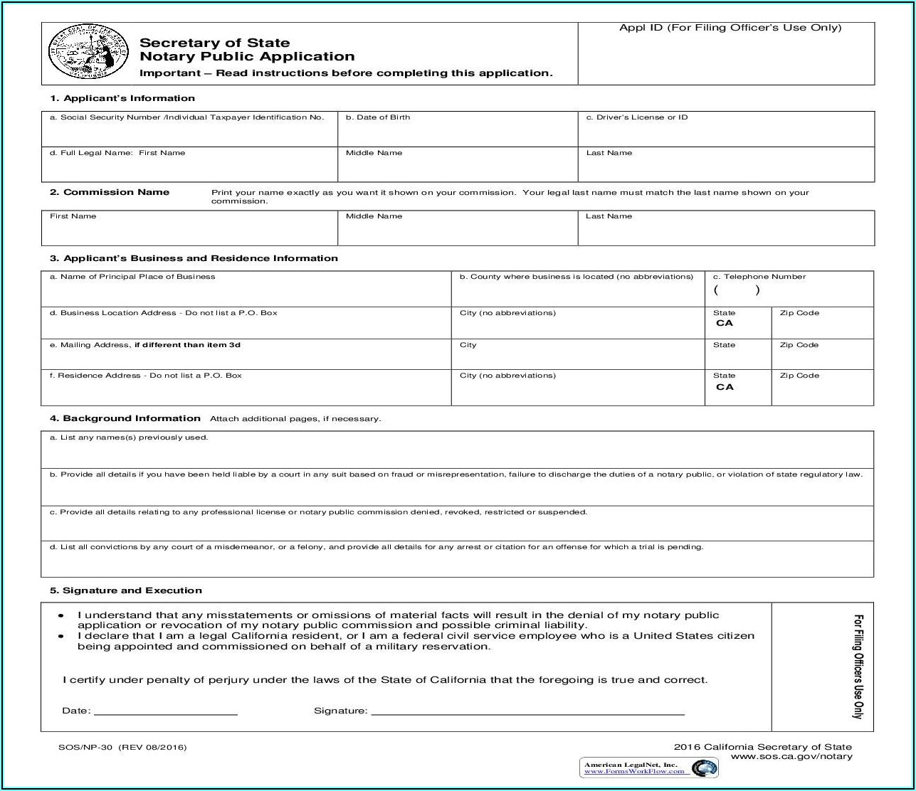 Notary Public Address Change Form California