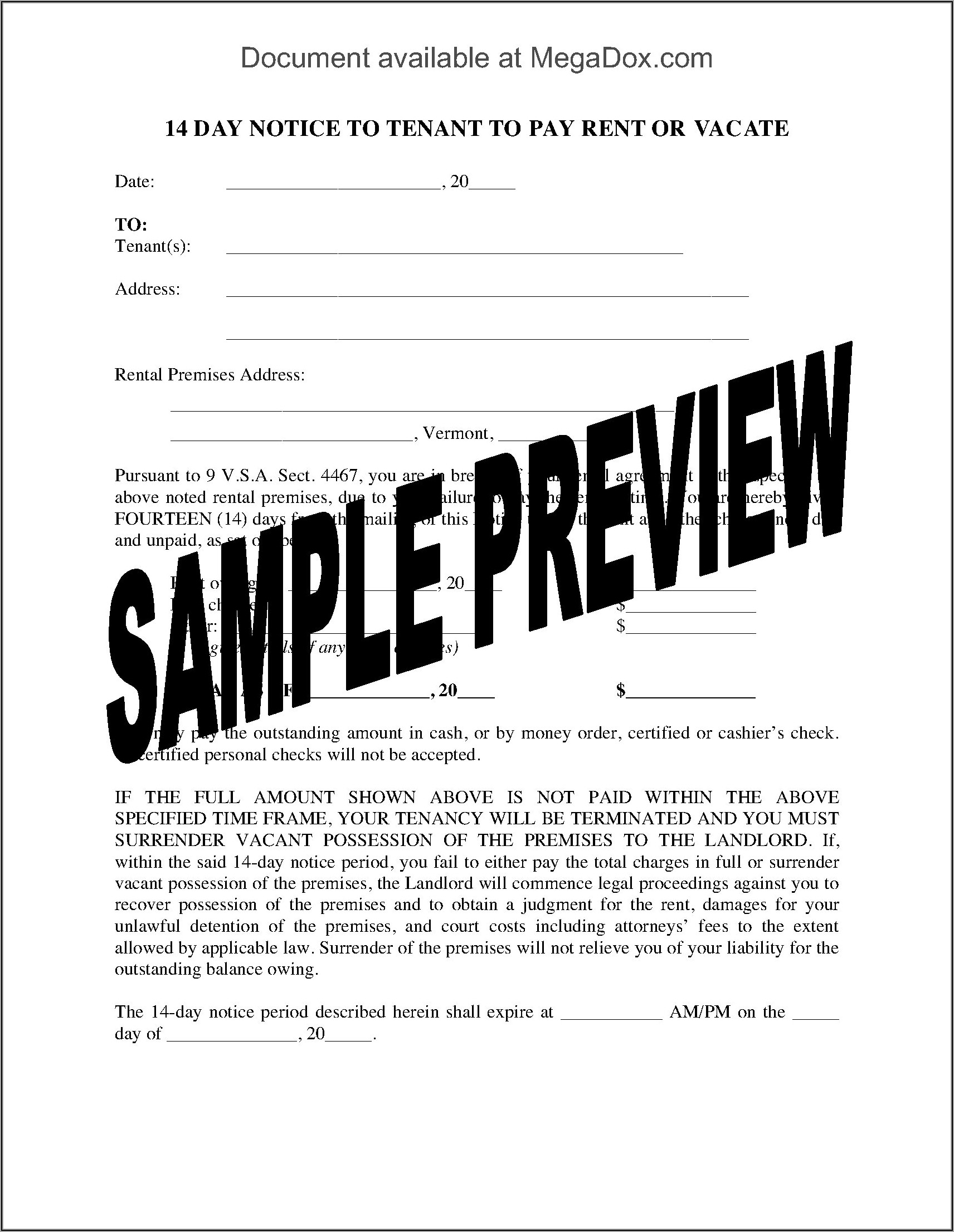 Notice To Pay Rent Or Vacate Forms