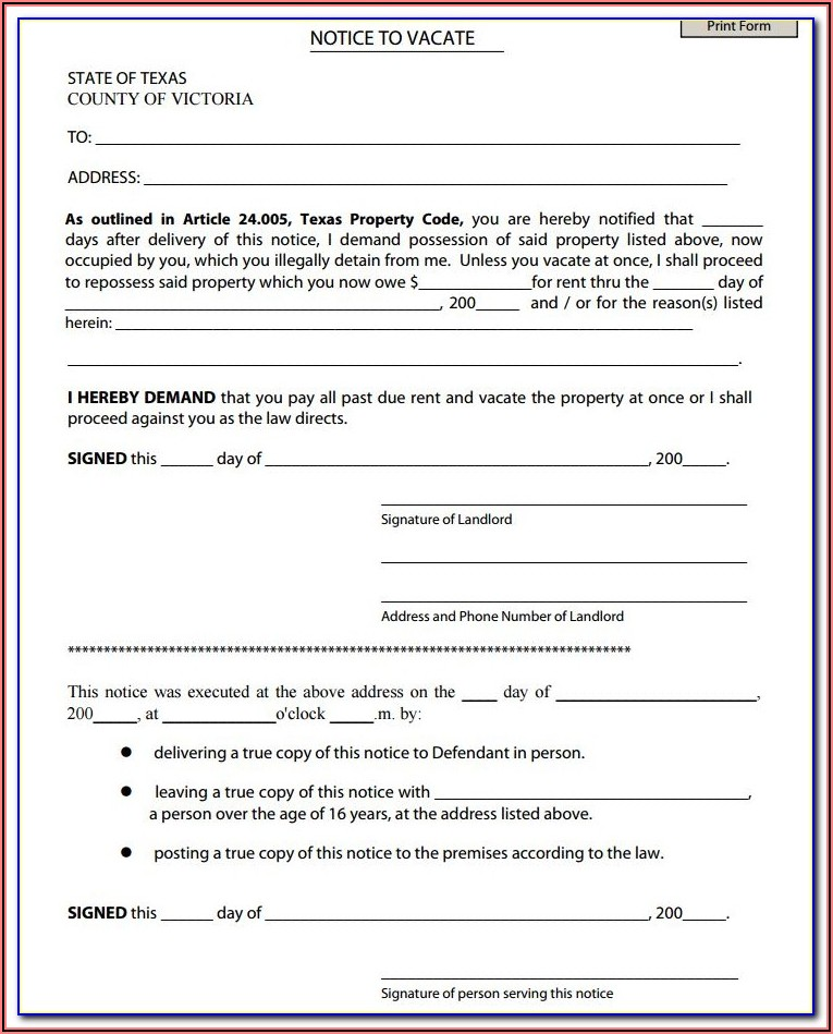 Notice To Vacate Texas Form