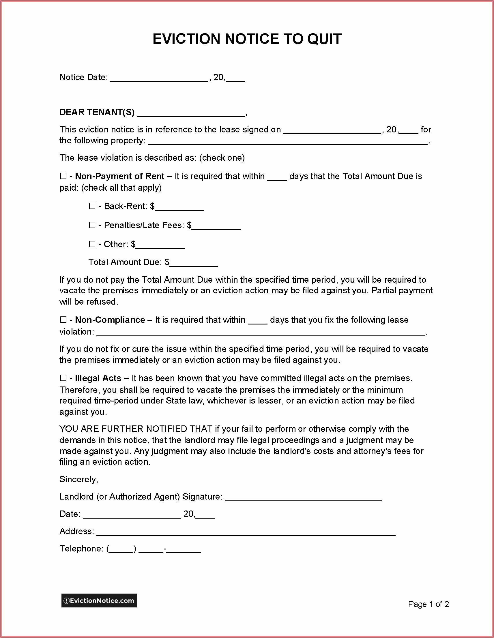 Official Eviction Notice Template