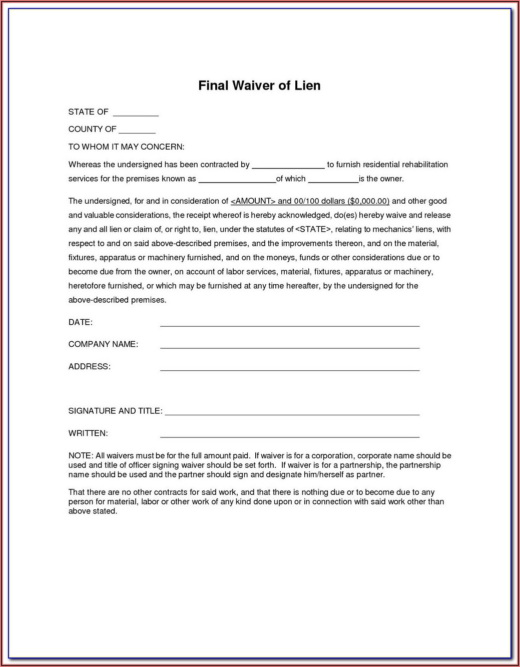 Partial Lien Waiver Form New York