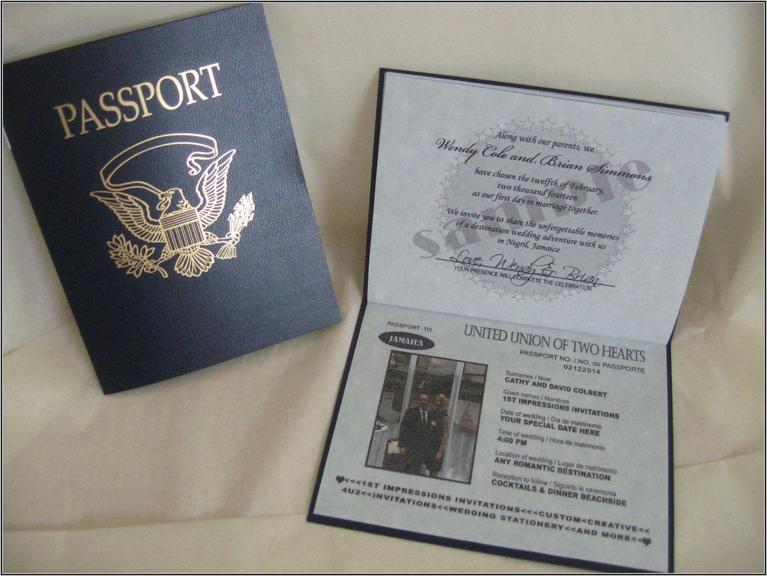 Passport Wedding Invitation Sample