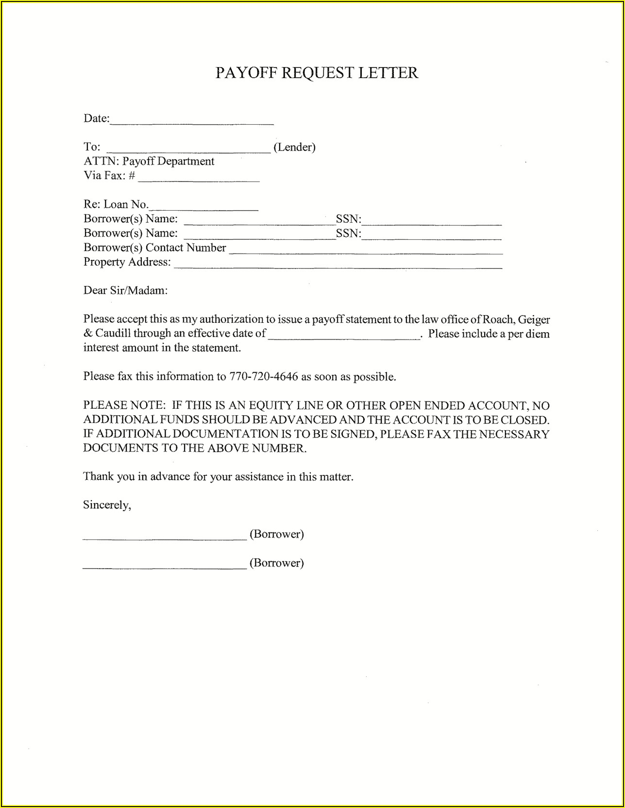 Payoff Statement Template