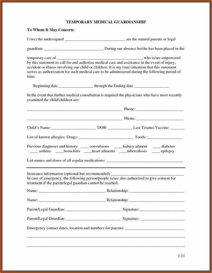 Pdf Printable Temporary Guardianship Form